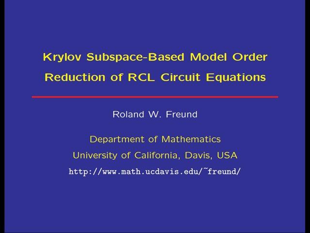 Roland W  Freund   Krylov subspace-based model order