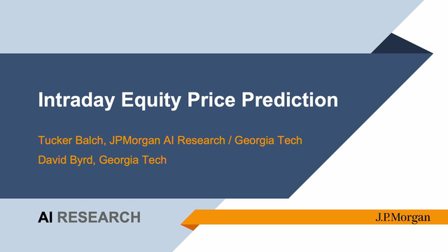 Tucker Balch | Intra-day Stock Price Prediction as a Measure